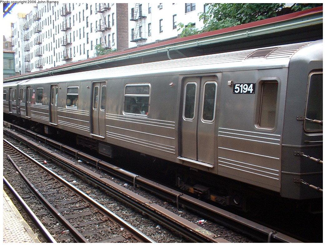 (237k, 1044x788)<br><b>Country:</b> United States<br><b>City:</b> New York<br><b>System:</b> New York City Transit<br><b>Line:</b> BMT Brighton Line<br><b>Location:</b> Prospect Park <br><b>Route:</b> Q<br><b>Car:</b> R-68A (Kawasaki, 1988-1989)  5194 <br><b>Photo by:</b> Robert Ferreira<br><b>Date:</b> 7/8/2006<br><b>Viewed (this week/total):</b> 3 / 1714