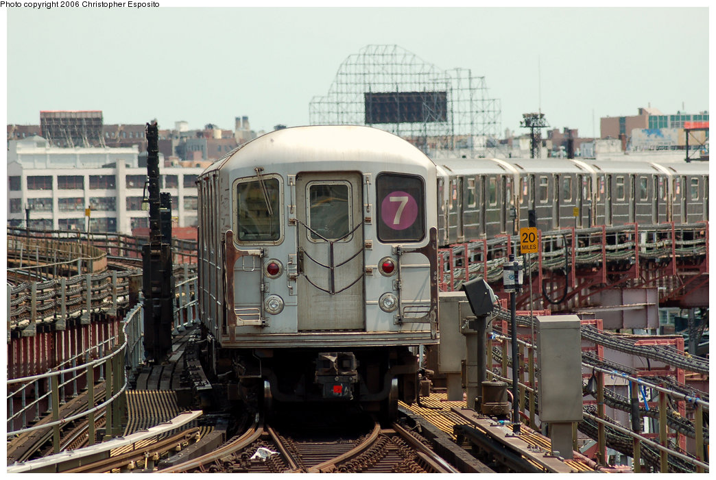 (215k, 1044x701)<br><b>Country:</b> United States<br><b>City:</b> New York<br><b>System:</b> New York City Transit<br><b>Line:</b> IRT Flushing Line<br><b>Location:</b> Queensborough Plaza <br><b>Route:</b> 7<br><b>Car:</b> R-62A (Bombardier, 1984-1987)   <br><b>Photo by:</b> Christopher Esposito<br><b>Date:</b> 7/7/2006<br><b>Viewed (this week/total):</b> 1 / 2952
