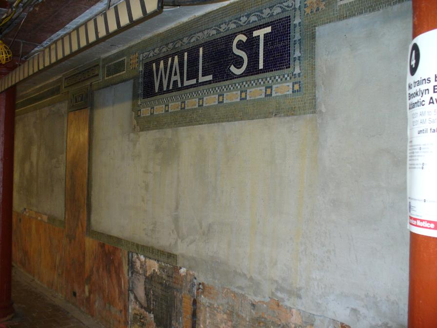 (98k, 896x672)<br><b>Country:</b> United States<br><b>City:</b> New York<br><b>System:</b> New York City Transit<br><b>Line:</b> IRT East Side Line<br><b>Location:</b> Wall Street <br><b>Photo by:</b> Robbie Rosenfeld<br><b>Date:</b> 7/7/2006<br><b>Notes:</b> Station renovation.<br><b>Viewed (this week/total):</b> 0 / 2023