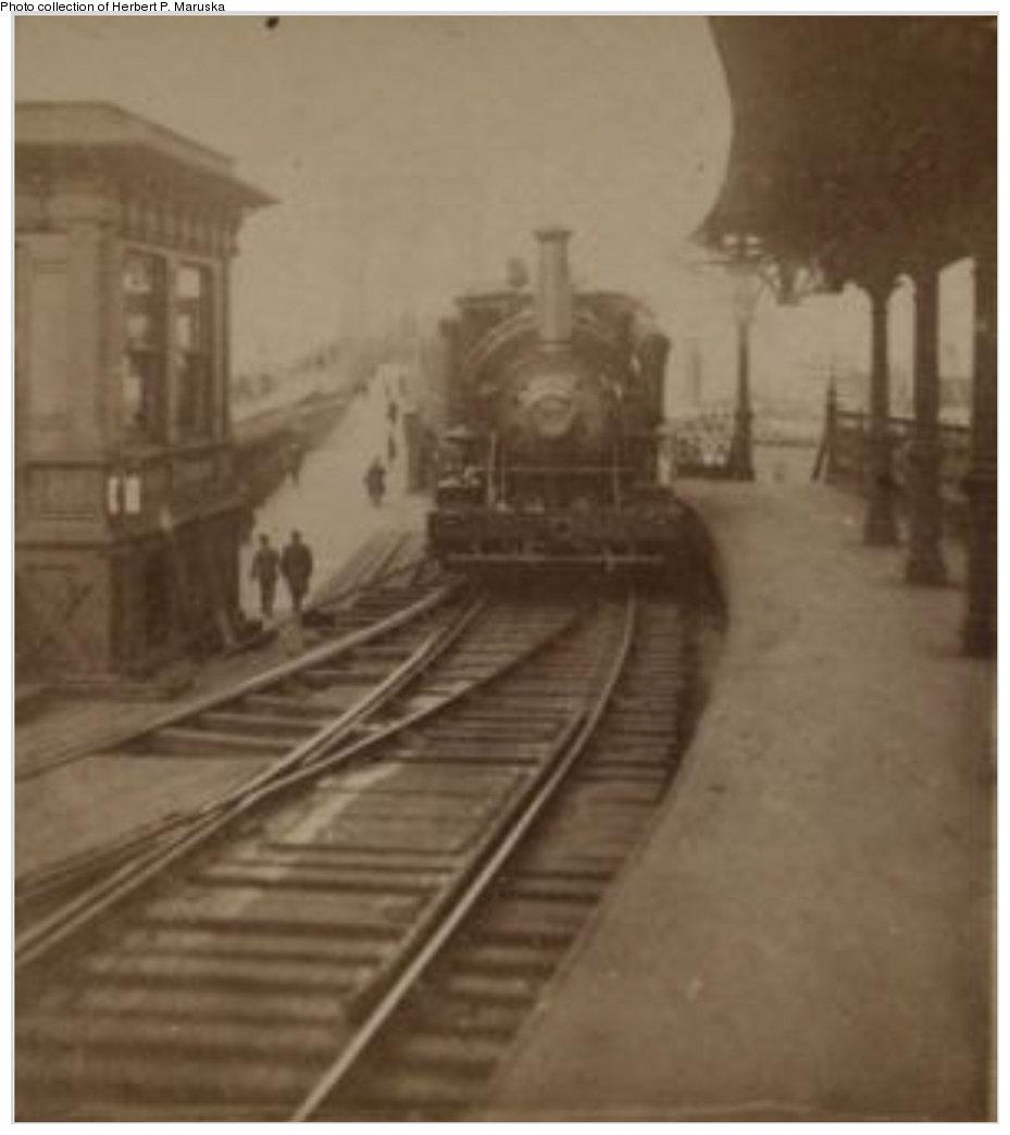 (87k, 929x1044)<br><b>Country:</b> United States<br><b>City:</b> New York<br><b>System:</b> New York City Transit<br><b>Line:</b> BMT Fulton<br><b>Location:</b> Sands Street <br><b>Collection of:</b> Herbert P. Maruska<br><b>Date:</b> 1910<br><b>Notes:</b> Train under steam power pulling into Sands St Station<br><b>Viewed (this week/total):</b> 3 / 2098