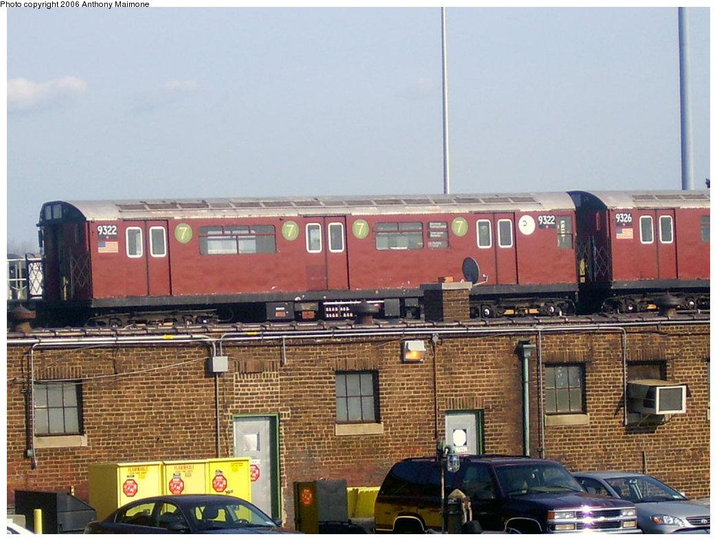 (216k, 1044x788)<br><b>Country:</b> United States<br><b>City:</b> New York<br><b>System:</b> New York City Transit<br><b>Location:</b> 239th Street Yard<br><b>Car:</b> R-33 World's Fair (St. Louis, 1963-64) 9322 <br><b>Photo by:</b> Anthony Maimone<br><b>Date:</b> 7/7/2006<br><b>Viewed (this week/total):</b> 2 / 4355