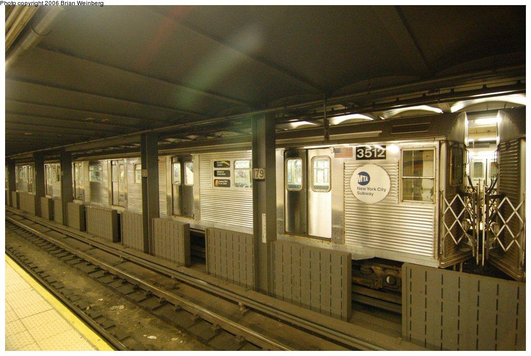 (205k, 1044x700)<br><b>Country:</b> United States<br><b>City:</b> New York<br><b>System:</b> New York City Transit<br><b>Line:</b> IND Queens Boulevard Line<br><b>Location:</b> 179th Street <br><b>Route:</b> F<br><b>Car:</b> R-32 (Budd, 1964)  3512 <br><b>Photo by:</b> Brian Weinberg<br><b>Date:</b> 7/16/2006<br><b>Viewed (this week/total):</b> 0 / 4482