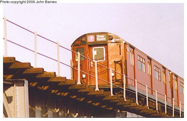 (51k, 619x401)<br><b>Country:</b> United States<br><b>City:</b> New York<br><b>System:</b> New York City Transit<br><b>Line:</b> IRT Flushing Line<br><b>Location:</b> 111th Street <br><b>Route:</b> 7<br><b>Car:</b> R-36 World's Fair (St. Louis, 1963-64)  <br><b>Photo by:</b> John Barnes<br><b>Date:</b> 11/9/1991<br><b>Viewed (this week/total):</b> 0 / 3553