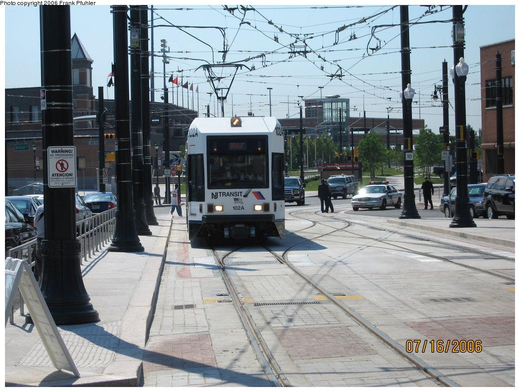 (207k, 1044x788)<br><b>Country:</b> United States<br><b>City:</b> Newark, NJ<br><b>System:</b> Newark City Subway<br><b>Location:</b> PRW Between Broad & University <br><b>Car:</b> NJT Kinki-Sharyo LRV (Newark) 102 <br><b>Photo by:</b> Frank Pfuhler<br><b>Date:</b> 7/17/2006<br><b>Notes:</b> First day of service.<br><b>Viewed (this week/total):</b> 2 / 2240