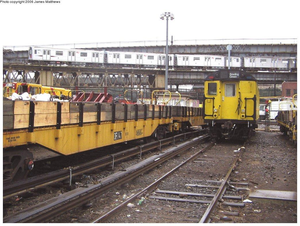 (201k, 1044x788)<br><b>Country:</b> United States<br><b>City:</b> New York<br><b>System:</b> New York City Transit<br><b>Location:</b> Westchester Yard<br><b>Car:</b> Flat Car 147 <br><b>Photo by:</b> James Matthews<br><b>Date:</b> 4/4/2006<br><b>Viewed (this week/total):</b> 10 / 3807