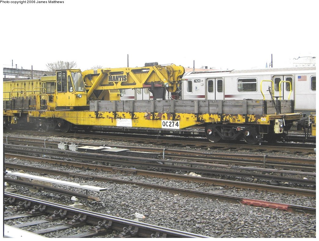 (209k, 1044x788)<br><b>Country:</b> United States<br><b>City:</b> New York<br><b>System:</b> New York City Transit<br><b>Location:</b> Westchester Yard<br><b>Car:</b> R-102 Crane Car  274 <br><b>Photo by:</b> James Matthews<br><b>Date:</b> 4/4/2006<br><b>Viewed (this week/total):</b> 1 / 2812