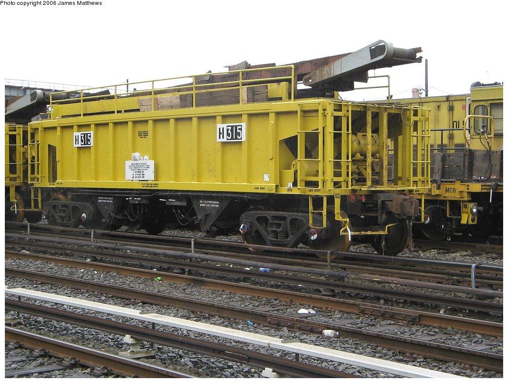 (204k, 1044x788)<br><b>Country:</b> United States<br><b>City:</b> New York<br><b>System:</b> New York City Transit<br><b>Location:</b> Westchester Yard<br><b>Car:</b> R-116 MoW Hopper  315 <br><b>Photo by:</b> James Matthews<br><b>Date:</b> 4/4/2006<br><b>Viewed (this week/total):</b> 2 / 2357