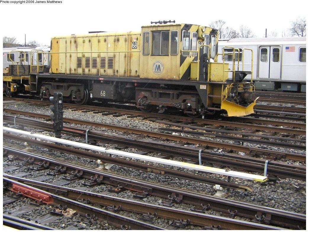 (220k, 1044x788)<br><b>Country:</b> United States<br><b>City:</b> New York<br><b>System:</b> New York City Transit<br><b>Location:</b> Westchester Yard<br><b>Car:</b> R-47 Locomotive  68 <br><b>Photo by:</b> James Matthews<br><b>Date:</b> 4/4/2006<br><b>Viewed (this week/total):</b> 0 / 1911