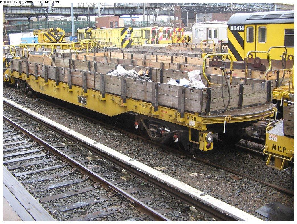 (281k, 1044x788)<br><b>Country:</b> United States<br><b>City:</b> New York<br><b>System:</b> New York City Transit<br><b>Location:</b> Westchester Yard<br><b>Car:</b> R-72 Trailer Flat Car (Garrett, 1983)  216 <br><b>Photo by:</b> James Matthews<br><b>Date:</b> 4/4/2006<br><b>Viewed (this week/total):</b> 0 / 2088