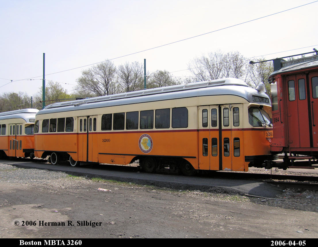 (197k, 1106x859)<br><b>Country:</b> United States<br><b>City:</b> Boston, MA<br><b>System:</b> MBTA<br><b>Line:</b> MBTA Mattapan-Ashmont Line<br><b>Location:</b> Mattapan <br><b>Car:</b> MBTA/BSRy PCC Wartime (Pullman-Standard, 1945-46)  3260 <br><b>Photo by:</b> Herman R. Silbiger<br><b>Date:</b> 4/5/2006<br><b>Viewed (this week/total):</b> 2 / 2206