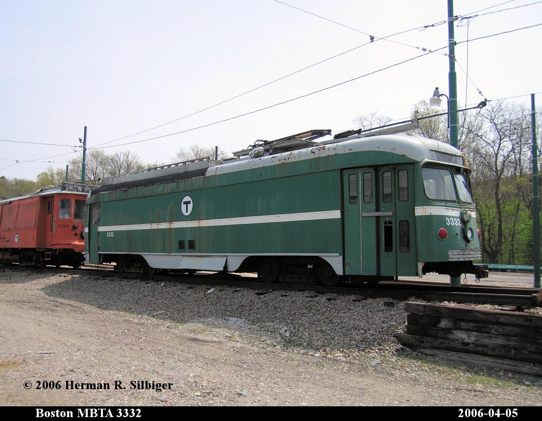(205k, 1106x859)<br><b>Country:</b> United States<br><b>City:</b> Boston, MA<br><b>System:</b> MBTA<br><b>Line:</b> MBTA Mattapan-Ashmont Line<br><b>Location:</b> Mattapan <br><b>Car:</b> MBTA/BSRy PCC Dallas Double End (Pullman-Standard, 1945)  3332 <br><b>Photo by:</b> Herman R. Silbiger<br><b>Date:</b> 4/5/2006<br><b>Notes:</b> Former Dallas Railway & Terminal 618<br><b>Viewed (this week/total):</b> 3 / 3493