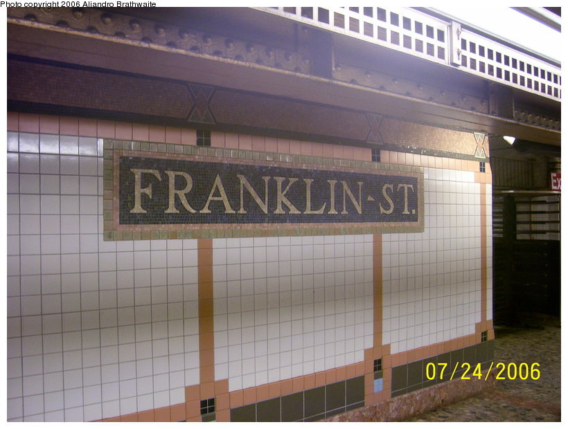 (112k, 820x620)<br><b>Country:</b> United States<br><b>City:</b> New York<br><b>System:</b> New York City Transit<br><b>Line:</b> IRT West Side Line<br><b>Location:</b> Franklin Street <br><b>Photo by:</b> Aliandro Brathwaite<br><b>Date:</b> 7/24/2006<br><b>Viewed (this week/total):</b> 0 / 1953
