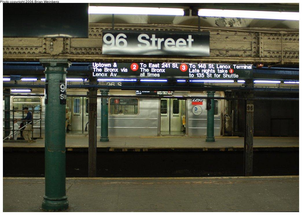 (199k, 1044x743)<br><b>Country:</b> United States<br><b>City:</b> New York<br><b>System:</b> New York City Transit<br><b>Line:</b> IRT West Side Line<br><b>Location:</b> 96th Street <br><b>Route:</b> 1<br><b>Car:</b> R-62A (Bombardier, 1984-1987)  2250 <br><b>Photo by:</b> Brian Weinberg<br><b>Date:</b> 7/23/2006<br><b>Viewed (this week/total):</b> 0 / 6718