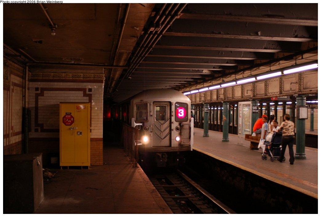 (177k, 1044x707)<br><b>Country:</b> United States<br><b>City:</b> New York<br><b>System:</b> New York City Transit<br><b>Line:</b> IRT West Side Line<br><b>Location:</b> 96th Street <br><b>Route:</b> 3<br><b>Car:</b> R-62 (Kawasaki, 1983-1985)  1596 <br><b>Photo by:</b> Brian Weinberg<br><b>Date:</b> 7/23/2006<br><b>Notes:</b> Note that the (3) is on the local track.<br><b>Viewed (this week/total):</b> 1 / 5217