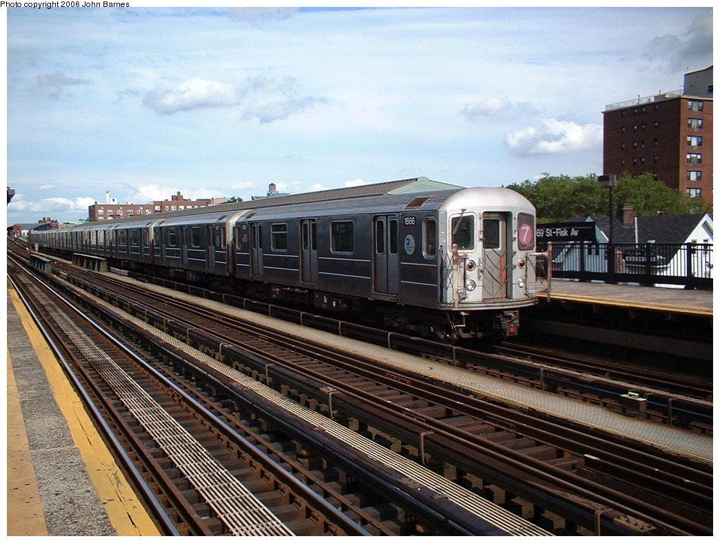 (221k, 1044x788)<br><b>Country:</b> United States<br><b>City:</b> New York<br><b>System:</b> New York City Transit<br><b>Line:</b> IRT Flushing Line<br><b>Location:</b> 69th Street/Fisk Avenue <br><b>Route:</b> 7<br><b>Car:</b> R-62A (Bombardier, 1984-1987)  1666 <br><b>Photo by:</b> John Barnes<br><b>Date:</b> 7/23/2006<br><b>Viewed (this week/total):</b> 1 / 1978