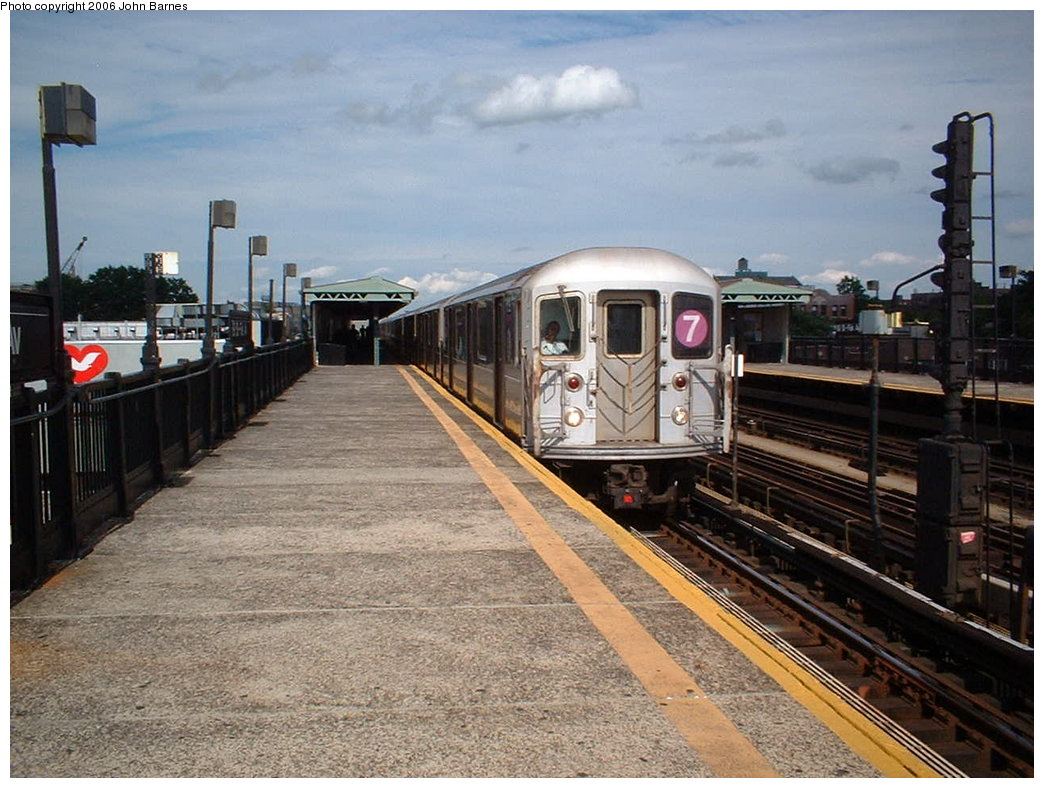 (196k, 1044x788)<br><b>Country:</b> United States<br><b>City:</b> New York<br><b>System:</b> New York City Transit<br><b>Line:</b> IRT Flushing Line<br><b>Location:</b> 69th Street/Fisk Avenue <br><b>Route:</b> 7<br><b>Car:</b> R-62A (Bombardier, 1984-1987)  1735 <br><b>Photo by:</b> John Barnes<br><b>Date:</b> 7/23/2006<br><b>Viewed (this week/total):</b> 2 / 2559