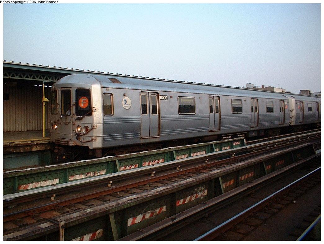 (174k, 1044x788)<br><b>Country:</b> United States<br><b>City:</b> New York<br><b>System:</b> New York City Transit<br><b>Line:</b> BMT Culver Line<br><b>Location:</b> Ditmas Avenue <br><b>Route:</b> F<br><b>Car:</b> R-46 (Pullman-Standard, 1974-75) 6000 <br><b>Photo by:</b> John Barnes<br><b>Date:</b> 7/26/2006<br><b>Viewed (this week/total):</b> 0 / 1752