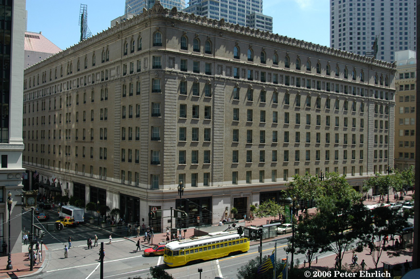 (260k, 864x574)<br><b>Country:</b> United States<br><b>City:</b> San Francisco/Bay Area, CA<br><b>System:</b> SF MUNI<br><b>Location:</b> Market/Montgomery <br><b>Car:</b> SF MUNI PCC (Ex-SEPTA) (St. Louis Car Co., 1947-1948)  1063 <br><b>Photo by:</b> Peter Ehrlich<br><b>Date:</b> 7/18/2006<br><b>Notes:</b> Market/New Montgomery inbound.  View from Crocker Building Park. The Sheraton-Palace Hotel is in the background.<br><b>Viewed (this week/total):</b> 0 / 857