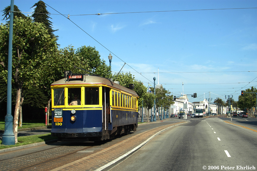 (229k, 864x574)<br><b>Country:</b> United States<br><b>City:</b> San Francisco/Bay Area, CA<br><b>System:</b> SF MUNI<br><b>Location:</b> Embarcadero/Beach/Grant<br><b>Car:</b> SF MUNI B-Type (Jewett Car Co, 1914) 130 <br><b>Photo by:</b> Peter Ehrlich<br><b>Date:</b> 7/18/2006<br><b>Notes:</b> Embarcadero near Grant inbound.<br><b>Viewed (this week/total):</b> 0 / 712