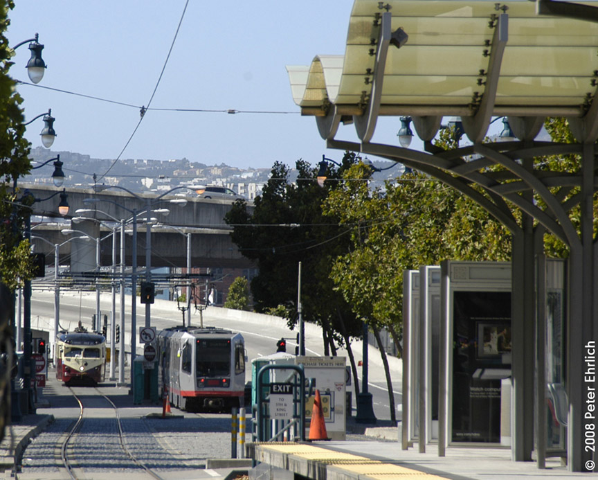 (227k, 864x693)<br><b>Country:</b> United States<br><b>City:</b> San Francisco/Bay Area, CA<br><b>System:</b> SF MUNI<br><b>Line:</b> MUNI Metro (Embarcadero)<br><b>Location:</b> 5th/King Tail Tracks <br><b>Route:</b> E<br><b>Car:</b> SF MUNI PCC Torpedo Double-End (St. Louis Car Co., 1948)  1007 <br><b>Photo by:</b> Peter Ehrlich<br><b>Date:</b> 8/31/2008<br><b>Notes:</b> E Line demonstration. With Breda 1438 inbound.  View from King/4th Street Station E-Line platform.<br><b>Viewed (this week/total):</b> 0 / 764
