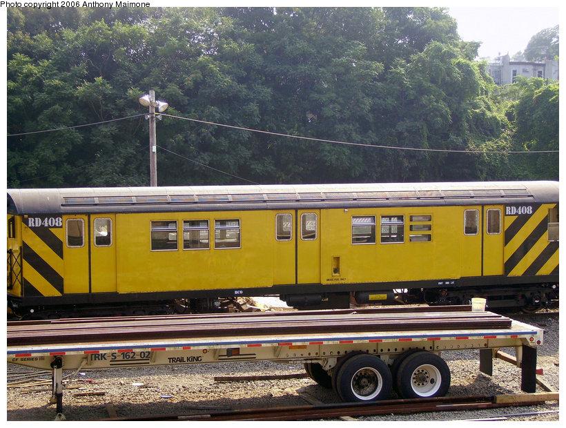 (196k, 820x620)<br><b>Country:</b> United States<br><b>City:</b> New York<br><b>System:</b> New York City Transit<br><b>Location:</b> 36th Street Yard<br><b>Car:</b> R-161 Rider Car (ex-R-33)  RD408 (ex-8890)<br><b>Photo by:</b> Anthony Maimone<br><b>Date:</b> 7/26/2006<br><b>Viewed (this week/total):</b> 0 / 2831