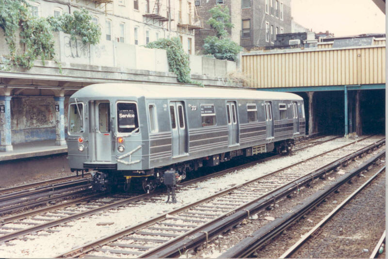 (100k, 800x534)<br><b>Country:</b> United States<br><b>City:</b> New York<br><b>System:</b> New York City Transit<br><b>Line:</b> BMT Sea Beach Line<br><b>Location:</b> 18th Avenue <br><b>Car:</b> R-68 (Westinghouse-Amrail, 1986-1988)  2737 <br><b>Collection of:</b> subwaywebnews.com<br><b>Date:</b> 1987<br><b>Notes:</b> Test train on the Sea Beach Line middle (express) track.<br><b>Viewed (this week/total):</b> 6 / 6762