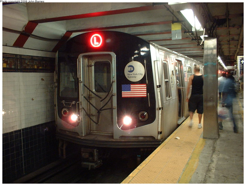 (170k, 1044x788)<br><b>Country:</b> United States<br><b>City:</b> New York<br><b>System:</b> New York City Transit<br><b>Line:</b> BMT Canarsie Line<br><b>Location:</b> Myrtle Avenue <br><b>Route:</b> L<br><b>Car:</b> R-143 (Kawasaki, 2001-2002) 8300 <br><b>Photo by:</b> John Barnes<br><b>Date:</b> 8/7/2006<br><b>Viewed (this week/total):</b> 0 / 3453