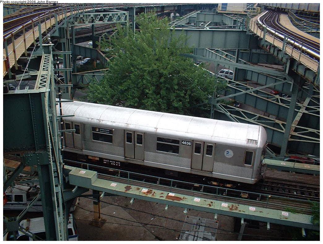 (237k, 1044x788)<br><b>Country:</b> United States<br><b>City:</b> New York<br><b>System:</b> New York City Transit<br><b>Line:</b> BMT Nassau Street/Jamaica Line<br><b>Location:</b> Broadway/East New York (Broadway Junction) <br><b>Car:</b> R-42 (St. Louis, 1969-1970)  4636 <br><b>Photo by:</b> John Barnes<br><b>Date:</b> 8/7/2006<br><b>Notes:</b> On East NY Yard layup track.<br><b>Viewed (this week/total):</b> 1 / 4476