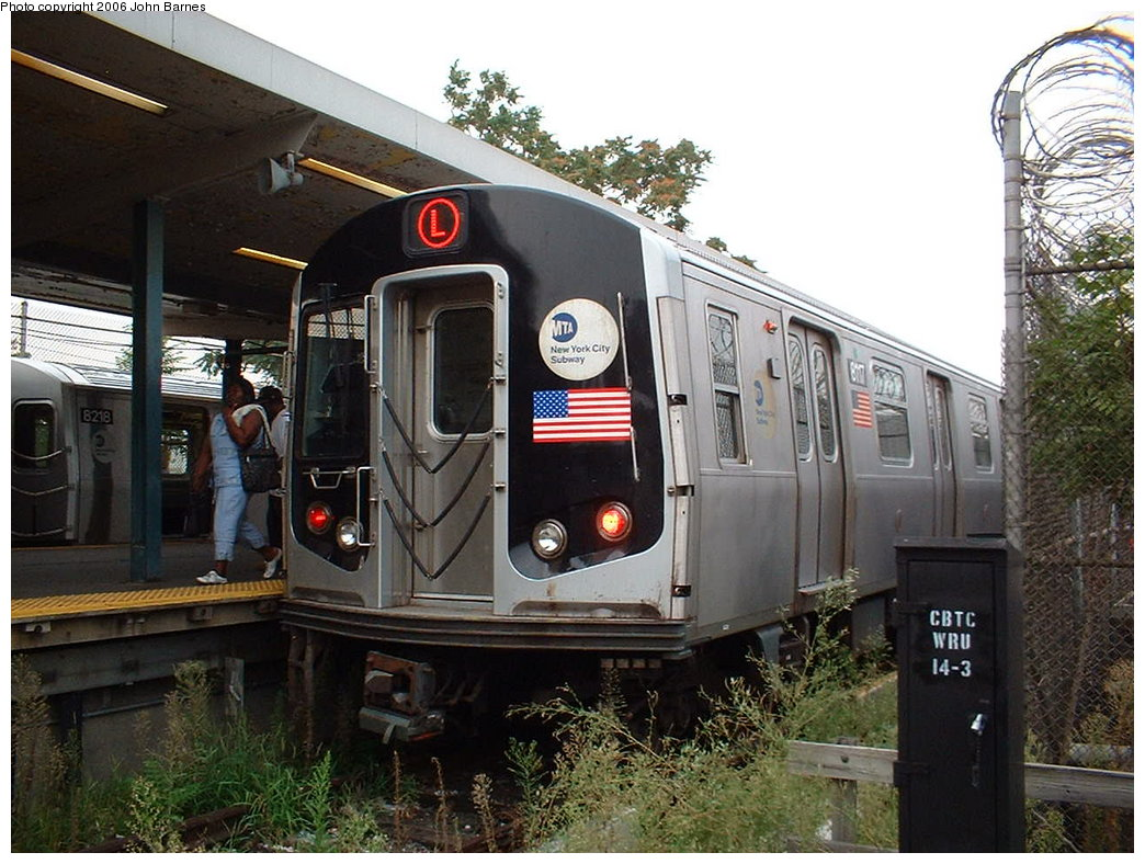 (203k, 1044x788)<br><b>Country:</b> United States<br><b>City:</b> New York<br><b>System:</b> New York City Transit<br><b>Line:</b> BMT Canarsie Line<br><b>Location:</b> Rockaway Parkway <br><b>Route:</b> L<br><b>Car:</b> R-143 (Kawasaki, 2001-2002) 8117 <br><b>Photo by:</b> John Barnes<br><b>Date:</b> 8/7/2006<br><b>Viewed (this week/total):</b> 1 / 3655
