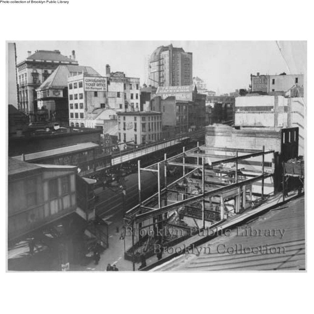 (135k, 1044x1044)<br><b>Country:</b> United States<br><b>City:</b> New York<br><b>System:</b> New York City Transit<br><b>Line:</b> BMT Fulton<br><b>Location:</b> Court St./Myrtle Ave <br><b>Collection of:</b> Brooklyn Public Library (via Herbert Maruska)<br><b>Notes:</b> Fulton St at Washington and Johnson Streets<br><b>Viewed (this week/total):</b> 1 / 1648
