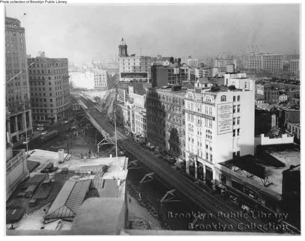 (145k, 1044x827)<br><b>Country:</b> United States<br><b>City:</b> New York<br><b>System:</b> New York City Transit<br><b>Line:</b> BMT Fulton<br><b>Location:</b> Court St./Myrtle Ave <br><b>Collection of:</b> Brooklyn Public Library (via Herbert Maruska)<br><b>Viewed (this week/total):</b> 4 / 2320