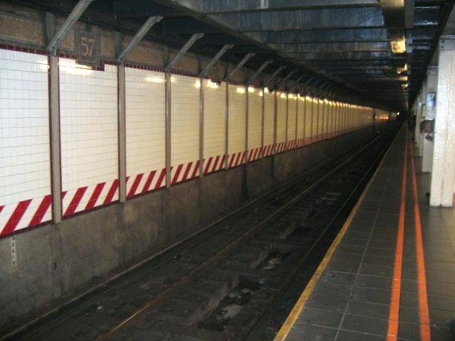 (111k, 640x480)<br><b>Country:</b> United States<br><b>City:</b> New York<br><b>System:</b> New York City Transit<br><b>Line:</b> BMT Broadway Line<br><b>Location:</b> 57th Street <br><b>Photo by:</b> Charles Ali<br><b>Date:</b> 7/22/2006<br><b>Notes:</b> Platform view of BMT 57th St. station.<br><b>Viewed (this week/total):</b> 0 / 2151