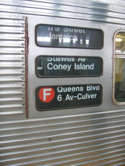 (106k, 480x640)<br><b>Country:</b> United States<br><b>City:</b> New York<br><b>System:</b> New York City Transit<br><b>Location:</b> Coney Island/Stillwell Avenue<br><b>Route:</b> F<br><b>Car:</b> R-32 (Budd, 1964)   <br><b>Photo by:</b> Charles Ali<br><b>Date:</b> 7/22/2006<br><b>Notes:</b> Exterior rollsign on an R32 car.<br><b>Viewed (this week/total):</b> 1 / 3523