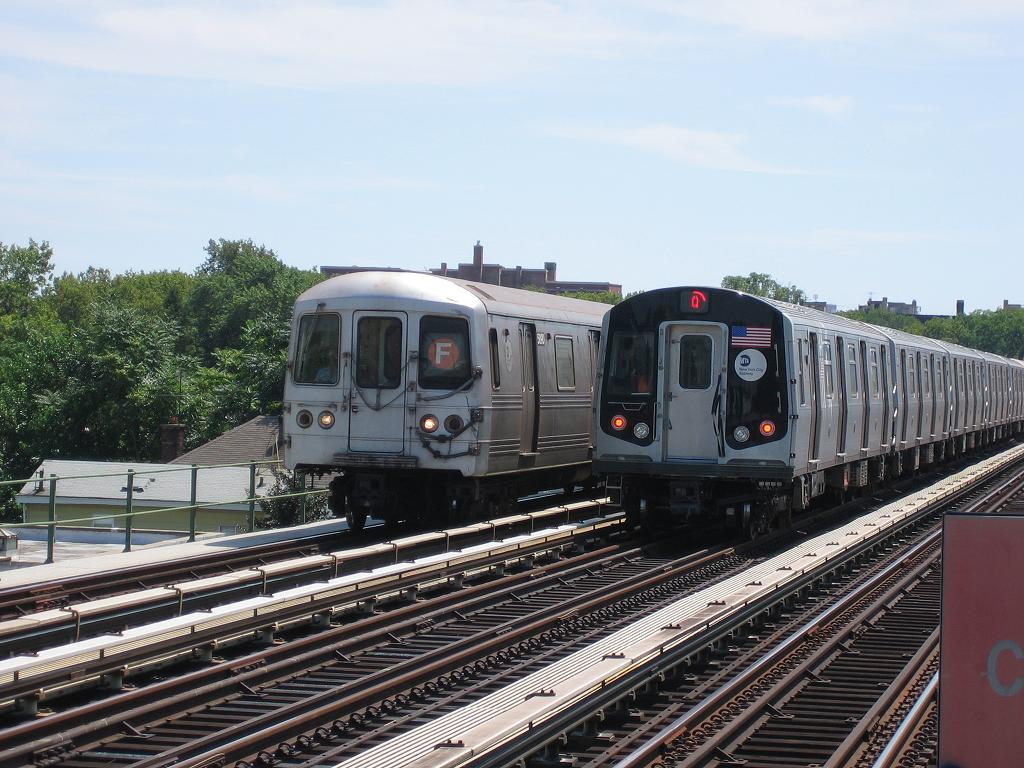 (143k, 1024x768)<br><b>Country:</b> United States<br><b>City:</b> New York<br><b>System:</b> New York City Transit<br><b>Line:</b> BMT Culver Line<br><b>Location:</b> Avenue P <br><b>Car:</b> R-160B (Kawasaki, 2005-2008)  8717 <br><b>Photo by:</b> Michael Hodurski<br><b>Date:</b> 8/9/2006<br><b>Notes:</b> R160B testing on Culver express track. With R46 5890 on F route.<br><b>Viewed (this week/total):</b> 0 / 4983