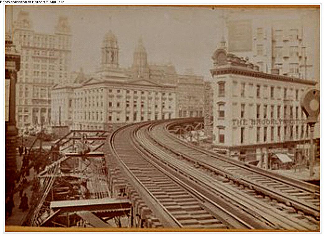 (199k, 1044x763)<br><b>Country:</b> United States<br><b>City:</b> New York<br><b>System:</b> New York City Transit<br><b>Line:</b> BMT Fulton<br><b>Location:</b> Boerum Place <br><b>Collection of:</b> Herbert P. Maruska<br><b>Date:</b> 1910<br><b>Notes:</b> Fulton el at Joralemon and Adams, view NW of Boerum Pl. station.<br><b>Viewed (this week/total):</b> 0 / 1845