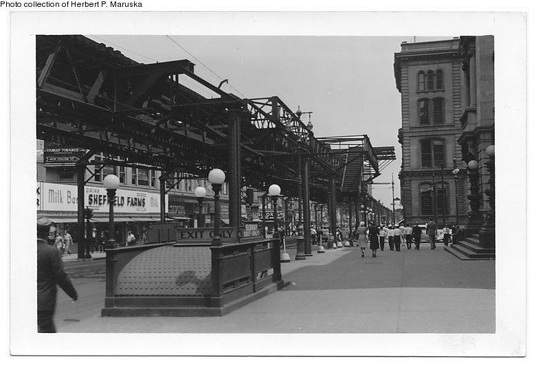 (72k, 780x533)<br><b>Country:</b> United States<br><b>City:</b> New York<br><b>System:</b> New York City Transit<br><b>Line:</b> BMT Fulton<br><b>Location:</b> Boerum Place <br><b>Collection of:</b> Herbert P. Maruska<br><b>Date:</b> 1941<br><b>Notes:</b> Fulton at Joralemon, el demolition.<br><b>Viewed (this week/total):</b> 1 / 1954