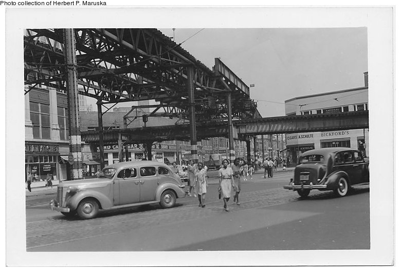 (79k, 780x530)<br><b>Country:</b> United States<br><b>City:</b> New York<br><b>System:</b> New York City Transit<br><b>Line:</b> BMT Fulton<br><b>Location:</b> Flatbush Avenue <br><b>Collection of:</b> Herbert P. Maruska<br><b>Date:</b> 1941<br><b>Notes:</b> Flatbush Ave. station view at Nevins St. with 5th Avenue El.<br><b>Viewed (this week/total):</b> 5 / 2197