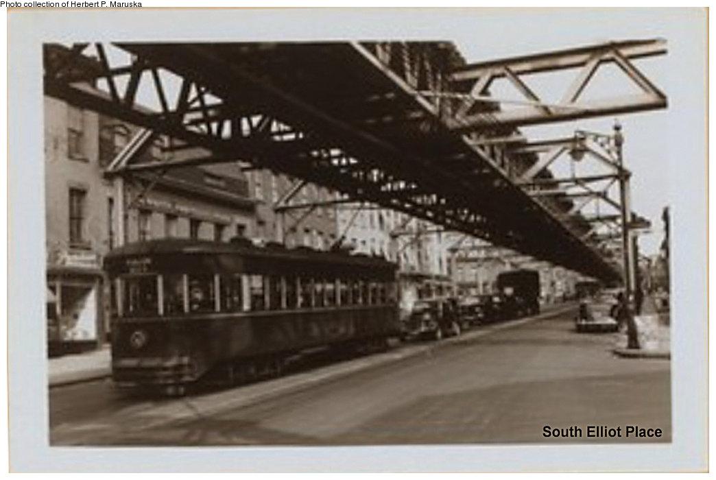 (122k, 1044x700)<br><b>Country:</b> United States<br><b>City:</b> New York<br><b>System:</b> New York City Transit<br><b>Line:</b> BMT Fulton<br><b>Location:</b> Lafayette Avenue <br><b>Collection of:</b> Herbert P. Maruska<br><b>Date:</b> 1940<br><b>Notes:</b> Fulton El at Elliot Pl.<br><b>Viewed (this week/total):</b> 4 / 1719