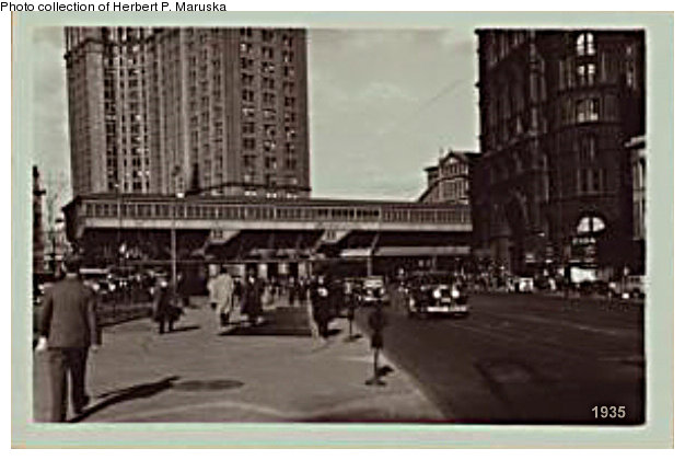 (70k, 626x420)<br><b>Country:</b> United States<br><b>City:</b> New York<br><b>System:</b> New York City Transit<br><b>Line:</b> BMT Fulton<br><b>Location:</b> City Hall/Park Row <br><b>Collection of:</b> Herbert P. Maruska<br><b>Date:</b> 1935<br><b>Viewed (this week/total):</b> 1 / 2761