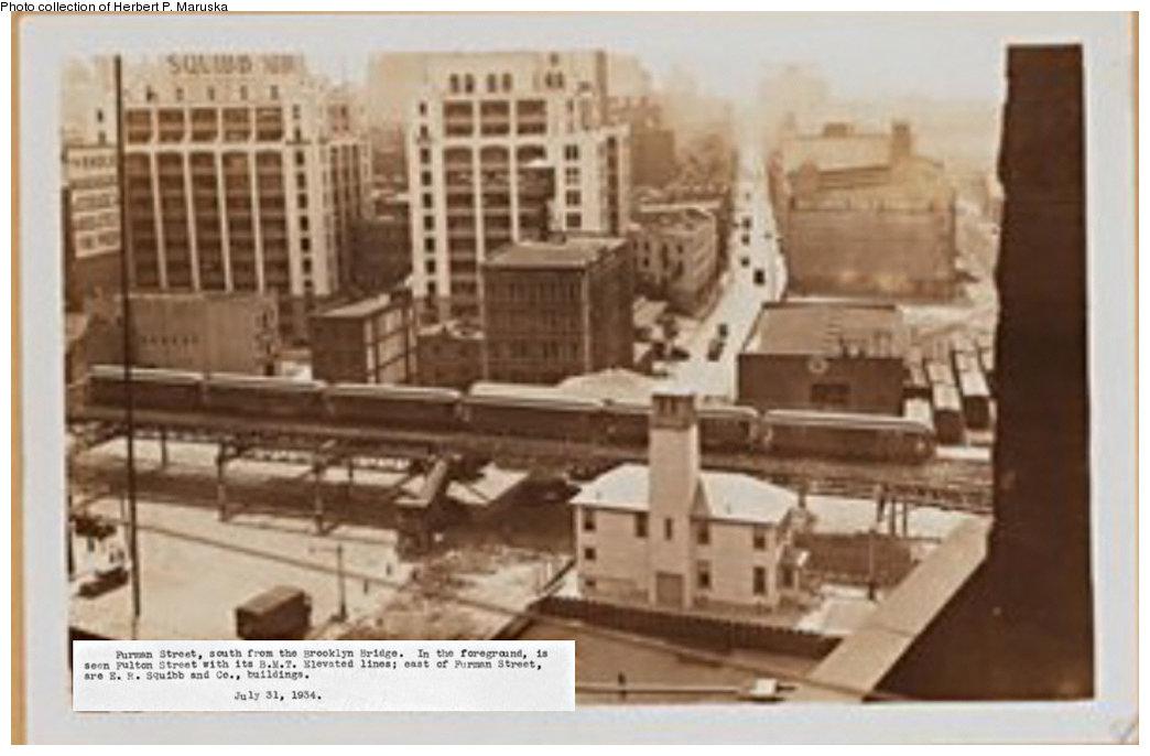 (133k, 1044x686)<br><b>Country:</b> United States<br><b>City:</b> New York<br><b>System:</b> New York City Transit<br><b>Line:</b> BMT Fulton<br><b>Location:</b> Fulton Ferry (Brooklyn) <br><b>Collection of:</b> Herbert P. Maruska<br><b>Date:</b> 1934<br><b>Notes:</b> View of el trackage on Furman St. from Brooklyn Bridge<br><b>Viewed (this week/total):</b> 2 / 2004