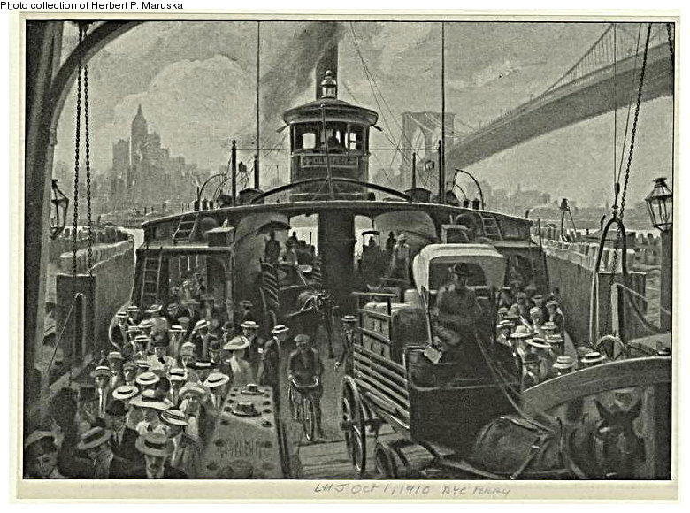 (155k, 780x580)<br><b>Country:</b> United States<br><b>City:</b> New York<br><b>System:</b> New York City Transit<br><b>Line:</b> BMT Fulton<br><b>Location:</b> Fulton Ferry (Manhattan) <br><b>Collection of:</b> Herbert P. Maruska<br><b>Date:</b> 1910<br><b>Notes:</b> Fulton Ferry terminal, Water St., Manhattan.<br><b>Viewed (this week/total):</b> 0 / 1750
