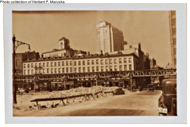 (65k, 609x407)<br><b>Country:</b> United States<br><b>City:</b> New York<br><b>System:</b> New York City Transit<br><b>Line:</b> BMT Fulton<br><b>Location:</b> Sands Street <br><b>Collection of:</b> Herbert P. Maruska<br><b>Date:</b> 1937<br><b>Notes:</b> Fulton St El between Orange and Pineapple Streets<br><b>Viewed (this week/total):</b> 1 / 1343