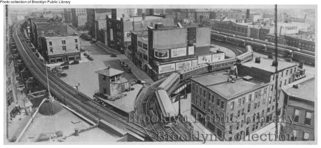 (95k, 1044x484)<br><b>Country:</b> United States<br><b>City:</b> New York<br><b>System:</b> New York City Transit<br><b>Line:</b> BMT Fulton<br><b>Location:</b> Court St./Myrtle Ave <br><b>Collection of:</b> Brooklyn Public Library (via Herbert Maruska)<br><b>Notes:</b> Tillary Street crossover tracks<br><b>Viewed (this week/total):</b> 2 / 2655