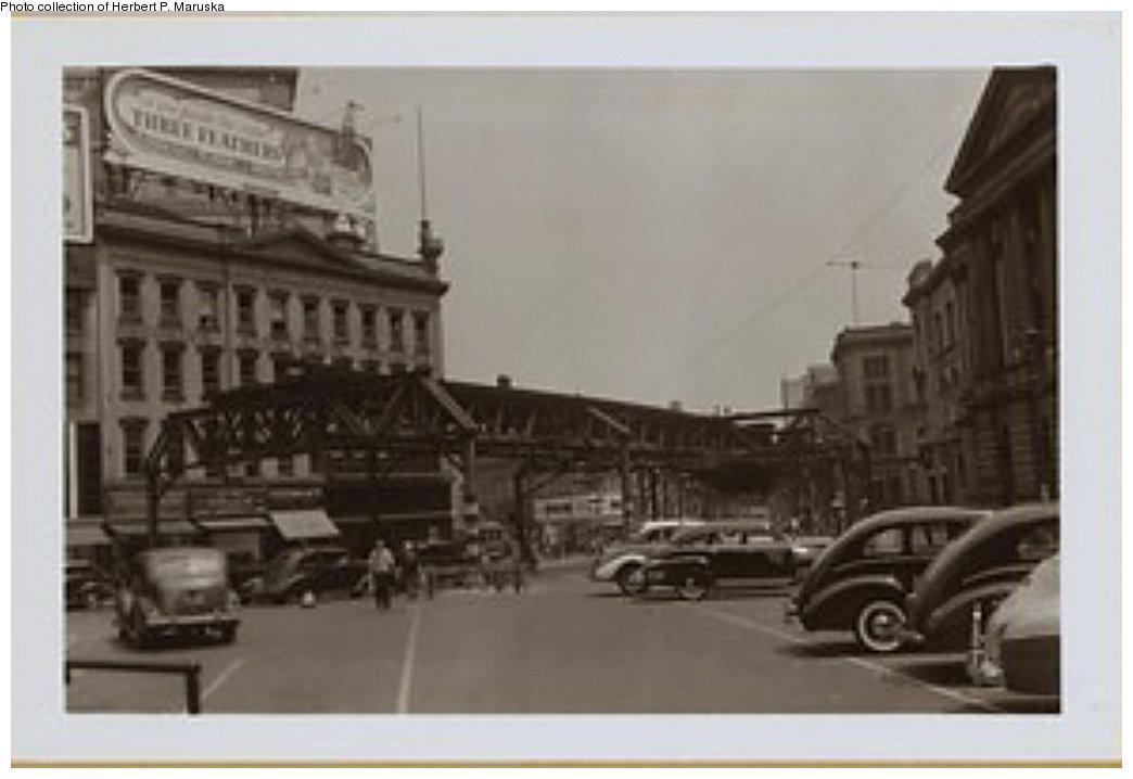 (108k, 1044x718)<br><b>Country:</b> United States<br><b>City:</b> New York<br><b>System:</b> New York City Transit<br><b>Line:</b> BMT Fulton<br><b>Location:</b> Court St./Myrtle Ave <br><b>Collection of:</b> Herbert P. Maruska<br><b>Date:</b> 1941<br><b>Notes:</b> Demolition of the Fulton St El at Myrtle Ave and Court St in 1941<br><b>Viewed (this week/total):</b> 5 / 1782