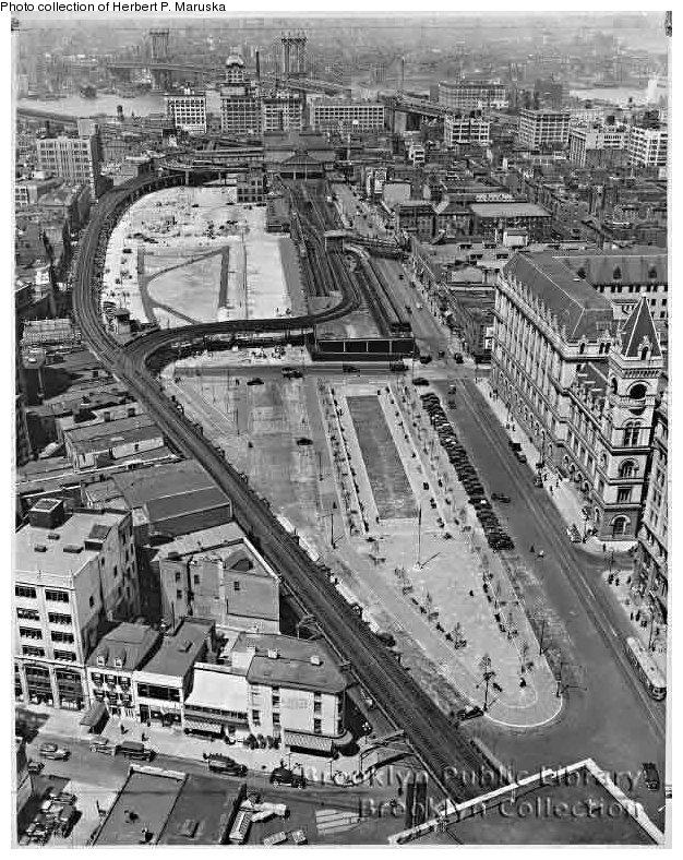 (189k, 626x788)<br><b>Country:</b> United States<br><b>City:</b> New York<br><b>System:</b> New York City Transit<br><b>Line:</b> BMT Fulton<br><b>Location:</b> Sands Street <br><b>Collection of:</b> Brooklyn Public Library (via Herbert Maruska)<br><b>Date:</b> 1937<br><b>Notes:</b> Sands Street Station aerial view, facing north. Fulton El on west side, Myrtle on east side.<br><b>Viewed (this week/total):</b> 6 / 2835