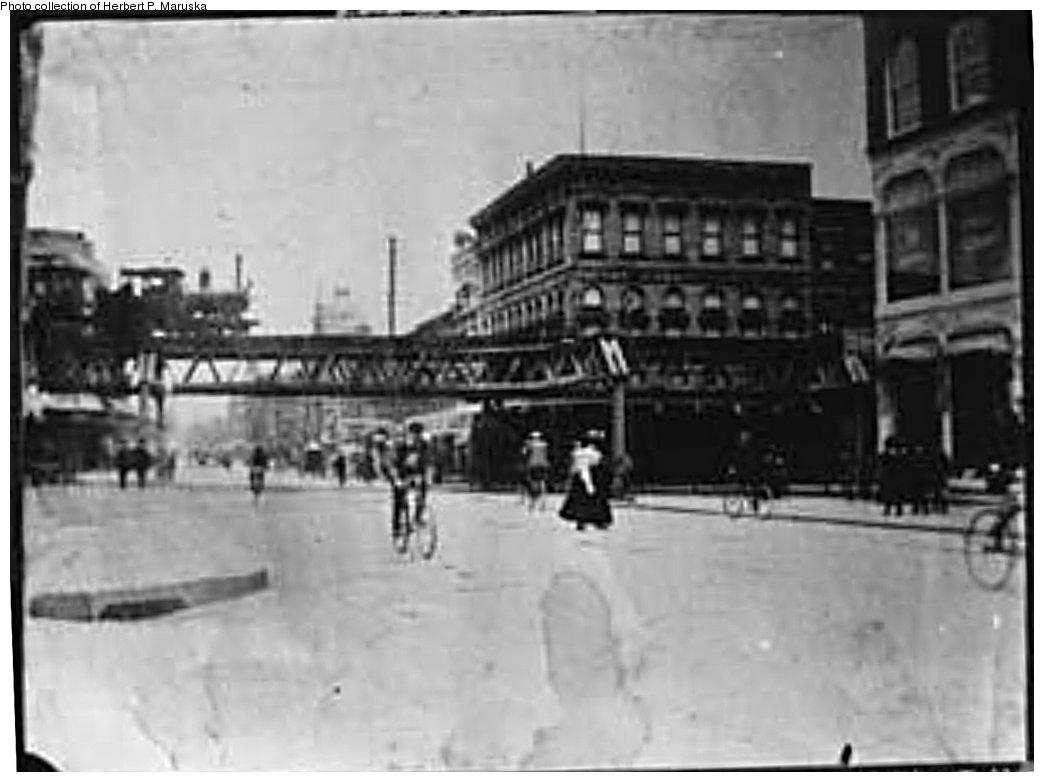 (115k, 1044x782)<br><b>Country:</b> United States<br><b>City:</b> New York<br><b>System:</b> New York City Transit<br><b>Line:</b> BMT Fulton<br><b>Location:</b> Nostrand Avenue <br><b>Photo by:</b> Herbert P. Maruska<br><b>Date:</b> 1896<br><b>Notes:</b> Nostrand Ave station from Bedford Ave.<br><b>Viewed (this week/total):</b> 0 / 2389