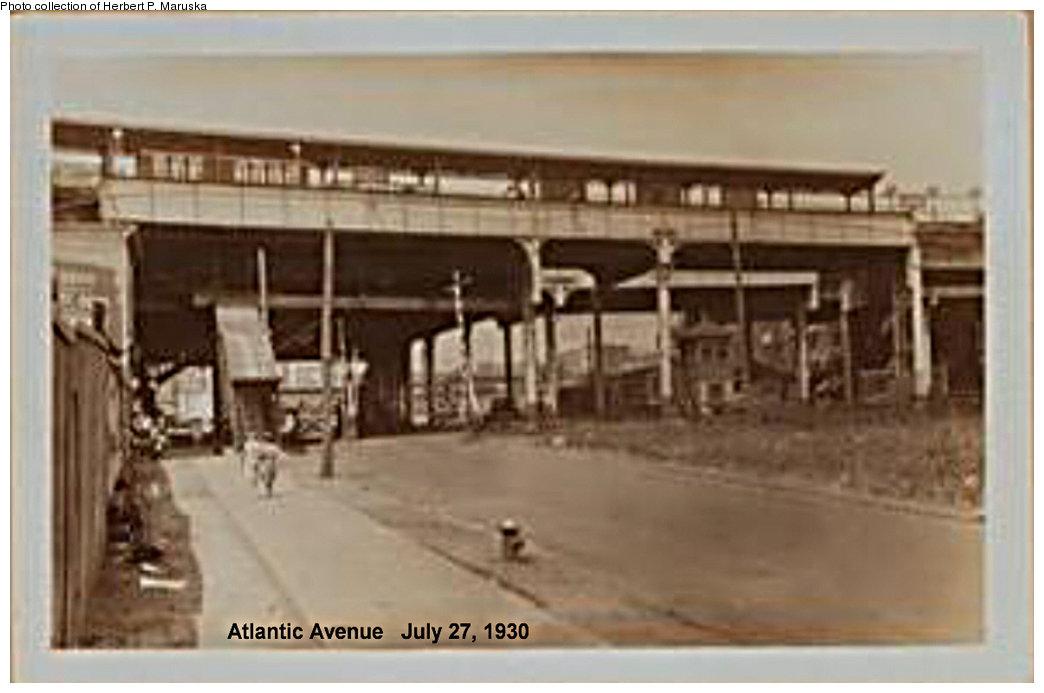 (122k, 1044x693)<br><b>Country:</b> United States<br><b>City:</b> New York<br><b>System:</b> New York City Transit<br><b>Line:</b> BMT Fulton<br><b>Location:</b> Atlantic Avenue <br><b>Photo by:</b> Herbert P. Maruska<br><b>Date:</b> 1930<br><b>Notes:</b> Atlantic Ave station from Snediker Ave (view is west).<br><b>Viewed (this week/total):</b> 0 / 2548