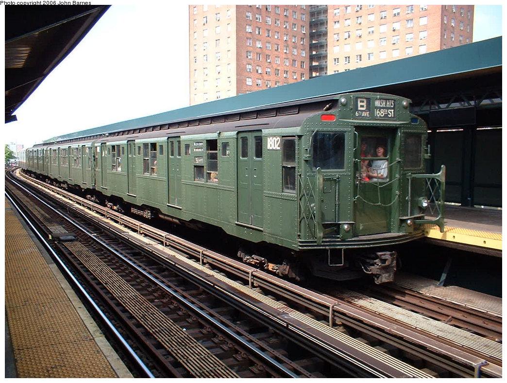(235k, 1044x788)<br><b>Country:</b> United States<br><b>City:</b> New York<br><b>System:</b> New York City Transit<br><b>Line:</b> BMT Brighton Line<br><b>Location:</b> West 8th Street<br><b>Route:</b> Fan Trip<br><b>Car:</b> R-9 (Pressed Steel, 1940) 1802 <br><b>Photo by:</b> John Barnes<br><b>Date:</b> 8/20/2006<br><b>Viewed (this week/total):</b> 0 / 2611