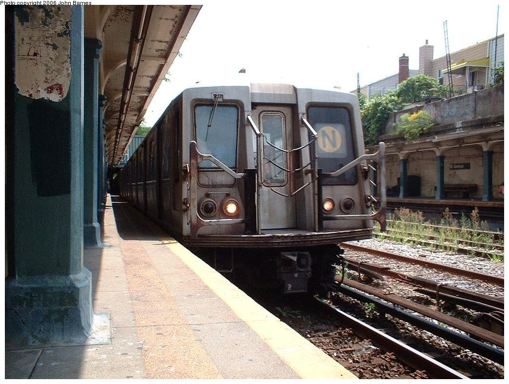 (206k, 1044x788)<br><b>Country:</b> United States<br><b>City:</b> New York<br><b>System:</b> New York City Transit<br><b>Line:</b> BMT Sea Beach Line<br><b>Location:</b> 18th Avenue <br><b>Route:</b> N<br><b>Car:</b> R-40 (St. Louis, 1968)  4448 <br><b>Photo by:</b> John Barnes<br><b>Date:</b> 8/20/2006<br><b>Viewed (this week/total):</b> 0 / 2271