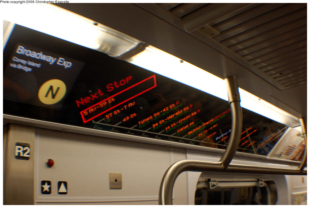 (170k, 1044x701)<br><b>Country:</b> United States<br><b>City:</b> New York<br><b>System:</b> New York City Transit<br><b>Route:</b> N<br><b>Car:</b> R-160A/R-160B Series (Number Unknown) Interior <br><b>Photo by:</b> Christopher Esposito<br><b>Date:</b> 8/18/2006<br><b>Notes:</b> FIND station stop information indicator.<br><b>Viewed (this week/total):</b> 0 / 5689